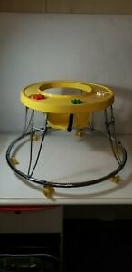 Vintage 80s Infant Baby Walker Round Yellow Chrome
