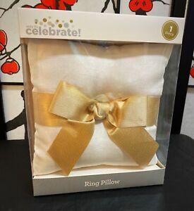 Wedding Day Ring Pillow White Satin & Gold Glitter Bow | Elegant Classy Upscale