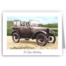 Austin 7 Vintage Car Birthday Card Nostalgic Colourful Past