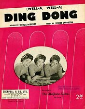 THE McGUIRE SISTERES - (WELL-A WELL-A) DING DONG- VINTAGE SHEET MUSIC AUSTRALIA
