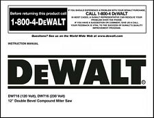 "Dewalt 12"" Double Bevel Compound Miter Saw Instruction Manual Model No. DW716"
