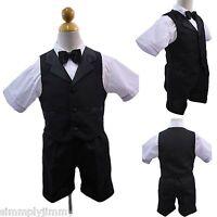 Black Boys Infant Toddler Formal Satin Lapel Vest Shorts Suit S M L XL 2T 3T 4T