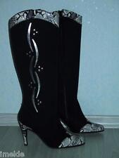 Damenschuh High Heel Stiefel NEU Gr. 37 in schwarz & silbern super sexy!