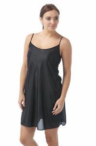 Indigo Sky Ladies Short Silk Touch Matt Satin CHEMISE NIGHTIE FULL SLIP Black