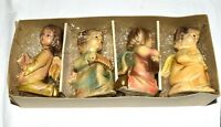 Vintage 3 Painted Angel Ornaments with Banjo Flute & Music Book Japan Org Box