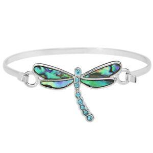 Dragonfly Fashionable Bangle Bracelet - Abalone Paua Shell - Sparkling Crystal