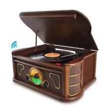 Pyle PTCDS8UBT Bluetooth Vintage Style Turntable Vinyl-to-MP3 USB/SD FM Radio