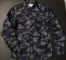 mens Slim S Carhartt WIP WORK IN PROGRESS Camo Painted Blue Shirt SMALL