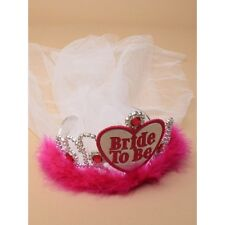 NEW Bride to be with white veil and pink feather tiara hen do fancy dress