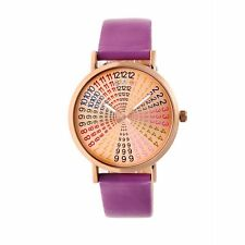 Crayo Fortune Women's Rainbow Dial Purple Band Rose Gold Watch CR4307