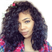 Short curly  Malaysian  Lace Front  wig  Human  Hair  baby hair around