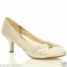 LADIES SATIN LOW MID HEELS WOMENS WEDDING BRIDAL BRIDESMAID STILETTO KITTEN SHOE