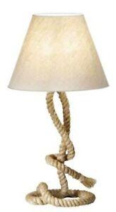 Maritime Stehlampe- Tischlampe- 70 cm- gedrehter Natur- Hanf (robust) und Schirm