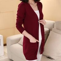 V-neck Long Sleeve Sweater Women Long Cardigan Cashmere Wool Blend Solid Color