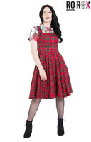 Hell Bunny Irvine Scottish Red Tartan Check Vintage Retro Pinafore Dress XS-4XL