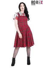 Hell Bunny Irvine Scottish Red Tartan Check Vintage Retro Pinafore Dress XS-4XL