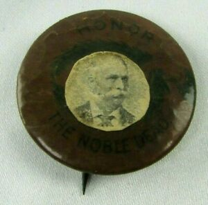 GAR Honor The Noble Dead Celluloid Badge Pin Button c 1880 Photo Added