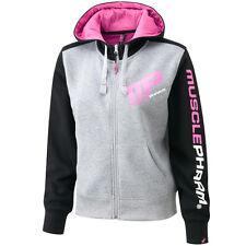 MusclePharm Ladies Full Zip MEDIUM Hoodie Gym Sweatshirt Training MP BLACK GREY