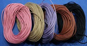 2/5/10 m Baumwollband 1,5 mm rund, gewachst, matt, schwarz/grün/rosa/braun/lila/