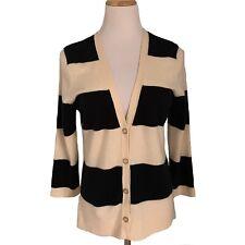 Talbots 100% Pure Cashmere Cardigan Sz Large V Neck Navy & Cream Stripe Nautical