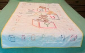 Baby Hand EMBROIDERED Quilt Crib Blanket Play Pad 58 x 39 Yellow Animals Letters