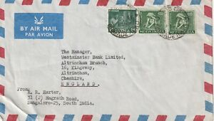 1966 India cover sent from Brigade Road,Bangalore to Altrincham,Cheshire UK