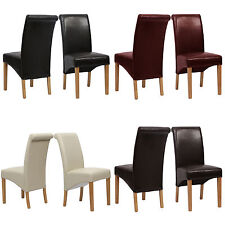 top quality leather dining chair roll top scroll back oak seat furniture