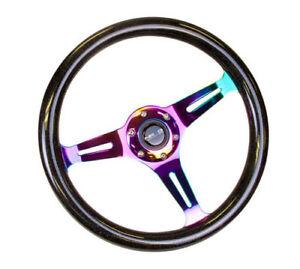 NRG Classic Wood Grain Steering Wheel 350mm Black Sparkle Galaxy Color Neochrome