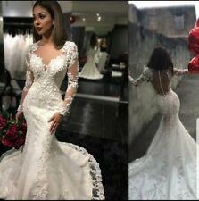 UK White Ivory Long Sleeve Beaded Lace Mermaid Sheer Back Wedding Dress Siz 6-18