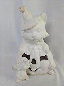 "Unpainted Bisque Ceramic Figure Halloween Pumpkin Cat Mouse 9"""