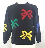 NORDSTROM TOWN SQUARE Sweater Mens Size Large Christmas Bows 100% Cotton Black