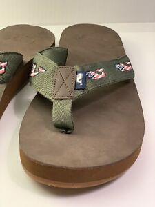Vineyard Vines Flag Whale Leather Flip Flop Brown / Spanish Moss Size 9