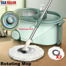 360° Rotating Spin Floor Mop Bucket Set w/ wheel 2 Microfiber Head Cleaning Tool