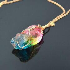 Rainbow Aura Quartz Pendulum Necklace Crystal Pendant Chakra Crystal Fashio O7F8