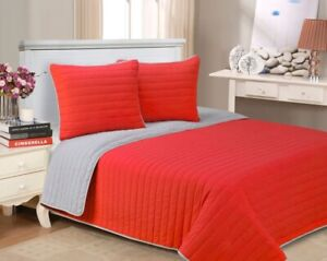 2-pc Twin Red Superior Brandon Contemporary Cotton Quit & Pillow Sham Set