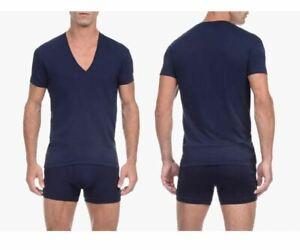 2(X)IST 3104104101 Pima Cotton Slim Fit Deep V-Neck T-Shirt Color 48007-Navy