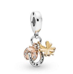 European Rose Gold Silver Cz Charm Beads Pendant Fit Sterling Bracelet Diy H-02