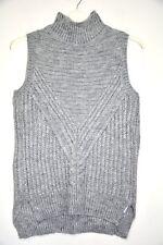 Ladies New ASOS Grey rib Knit Sleeveless Jumper Knitted Sweater Size 10 Autumuna