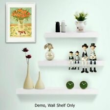 Astiss FURNI-WALL-SHELF-WH Melamine Floating Wall Shelves - Pack of 3, White