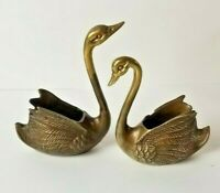 Vintage Pair (2) Heavy Solid Brass Swan Planters