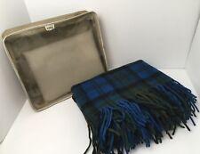 Vintage Pendleton Stadium Blanket 52x64 Blue Plaid Black Green