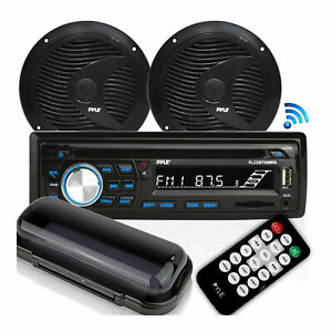 Pyle Marine Bluetooth Stereo Receiver & 6.5 Inch Speaker Pair with Remote, Black