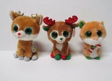 Ty Beanie Boos Christmas Lot Alpine Gold Antlers Alpine Red antlers &Candy Cane