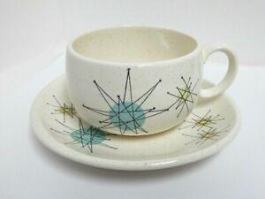 Franciscan Atomic Starburst Tea Cup & Saucer Set  MCM USA EUC