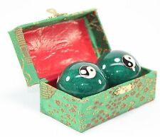 A Set of Green Chinese Baoding Taiji Iron Ball W/ Chimes Hand Stress Relief Gift