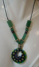 "Millefiori Glass Pendant Jade Green Bead 20"" Black Cord Necklace  7L 42"