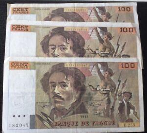 France,3 Billets 100 Francs Delacroix 1993 et 1994