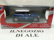 NEW RAY MODELLINO AUTO MINI COOPER,SCALA 1:24,COLORE BLU/ROSSO,DIE CAST