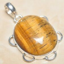 "Handmade Golden Tiger's Eye Gemstone 925 Sterling Silver Pendant 2"" #P02583"