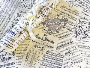 Music wrapping paper Romantic Hearts Roses warm cream colour 4 x A3 sheets